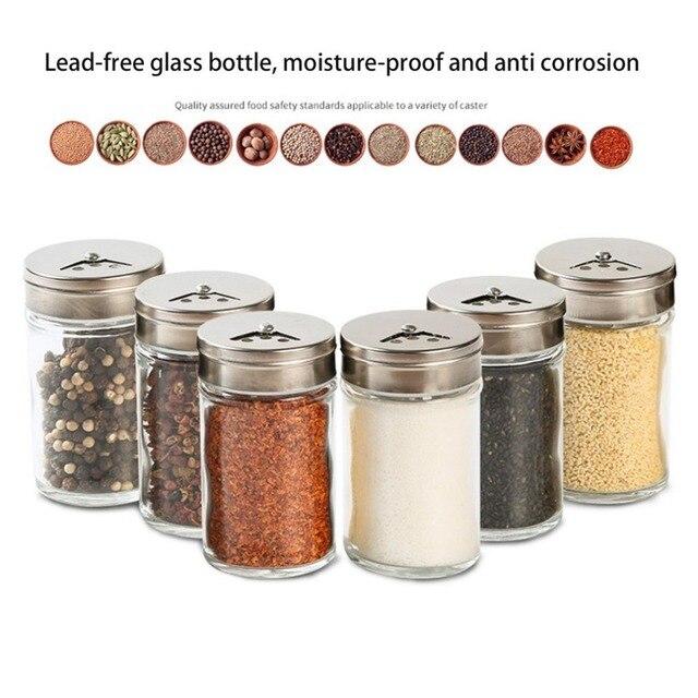 1pcs Stainless Steel Lid Condiment Pot Seasoning Bottle Glass Kitchen Supplies And Materials Saltcellar Rotational Regulation
