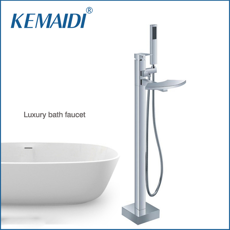 Фото KEMAIDI Good Quality Wholesale and Retail Free Standing Floor Mounted Bathtub Faucet Tap Set & Hand Held Shower Tub Faucet