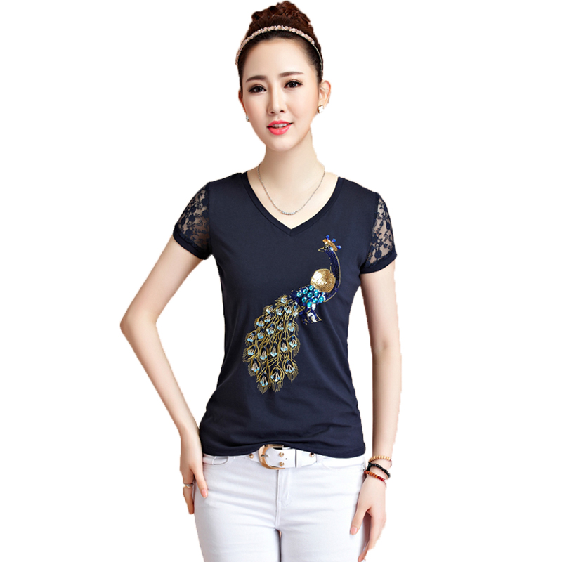 Beautiful store 2017 New Korean Women T Shirt Fashion Slim Peacock Sequins Embroidery Tops Summer Lace Short Sleeve V-neck Blusas Femininas Top