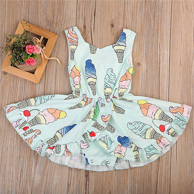 Cute Toddler Baby Girls Ice Cream Romper Dress Sunsuit Jumpsuit Clothes puseky 2017 infant romper baby boys girls jumpsuit newborn bebe clothing hooded toddler baby clothes cute panda romper costumes