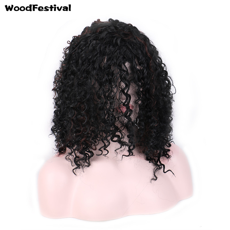 WOODFESTIVAL women african american wigs short afro kinky curly wig synthetic hair wigs heat resistant Platinum blonde black wig