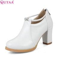 QUTAA 2018 Women Ankle Boots PU Leather Zipper Square High Heel Round Toe Black White Fashion