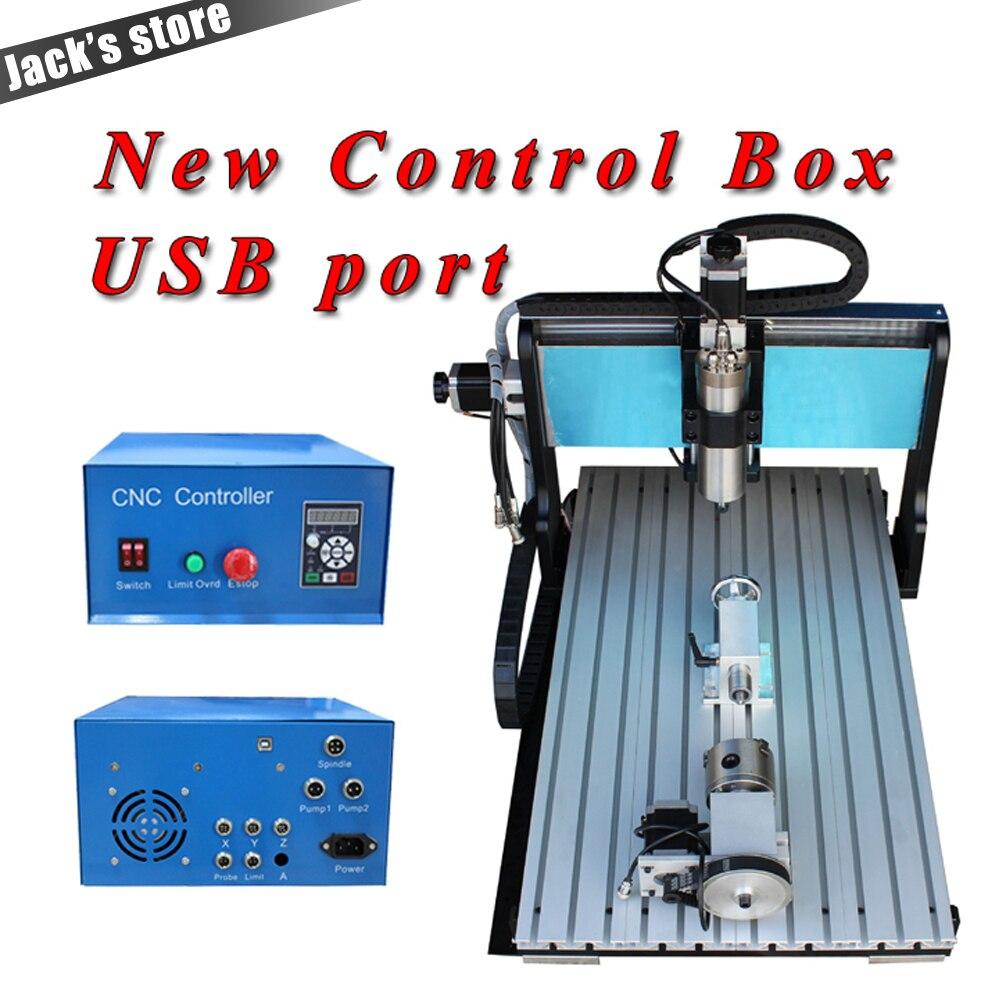 Porta USB, 6040Z-SS + + (4 aixs), 1500 W Mandrino + 2.2kw VFD acqua Router CNC6040 CNC-raffreddamento ad acqua di Metallo macchina per incidere di cnc macchina, CNC 6040