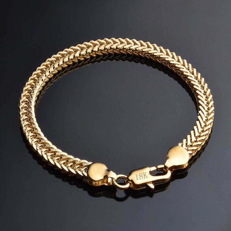 JEXXI Hot Gold Bracelet Stamp  Gold color Men Jewelry Trendy Cuban Chain Bracelets For Famle Wholesale Price
