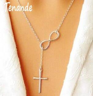 Tenande-colliers avec chaîne claviculaire couleur argent, pendentifs en croix, Lariat, à linfini, pour femmes, bijoux de fête, cadeau