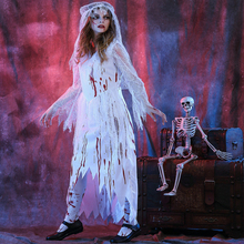 Free shipping adult zombie bride dress ghosts cosplay costume Halloween bloody corpse game Costume for women