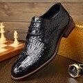 Горячие Продажи Классический Мужская Обувь Крокодил Тиснением Натуральной Кожи Плоские Туфли Мужчины Обувь Люксовый Бренд Плоским Оксфорд Обувь Квартиры