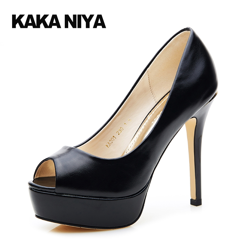 4 34 Small Size Fish Mouth Black 2017 Green Platform Shoes Peep Toe Women High Heels Prom Thin Pumps Extreme 12cm 5 Inch Adult