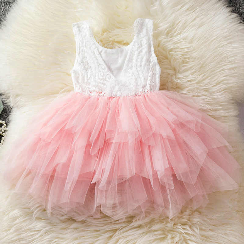 d9a3fbea817bd Lace Princess Girl Tulle Dress V-back Design Tutu Cake Dress Kids Clothes  Summer Girl Party Wear Baby Dress Children's Clothes