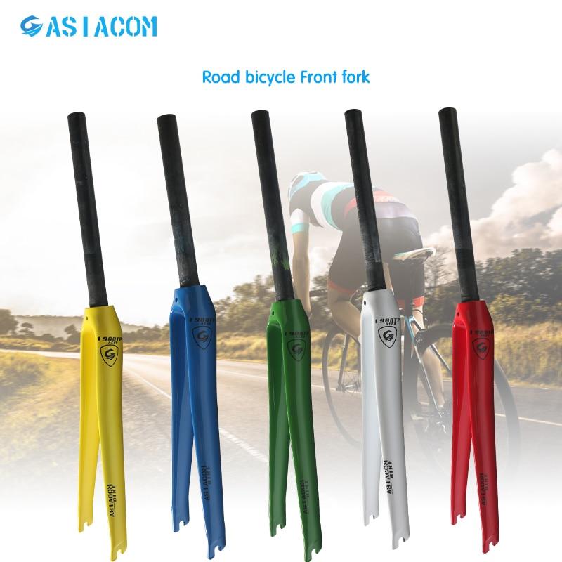 цены на Newest lightest 5 colors ASIACOM Road bicycle full carbon fibre fork hard fork Track Fixed Gear bike carbon front fork Free ship в интернет-магазинах