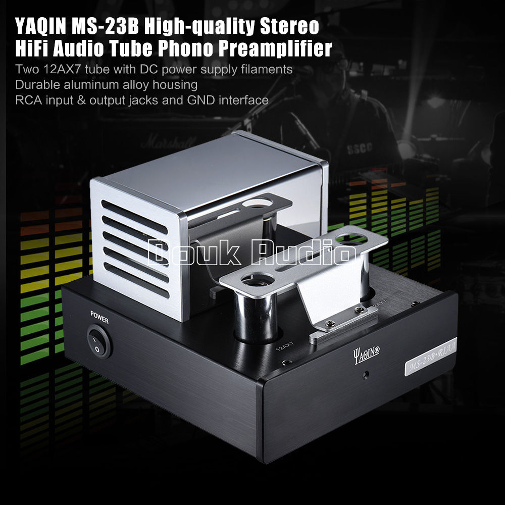 Music hall YAQIN MS-23B 12AX7 Tube Phono Preamplifier Pre-Amp MM RIAA Turntable HiFi Stereo amp brand new little bear t8 turntable mm mc phono riaa preamplifier hifi stereo pre amp diy phono sound amplifier for speakers hot