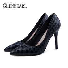 Brand Woman Shoes High Heels Spring Women Pumps Black Pointed Toes Slip On Office Lady Dress Shoes Female Party Shoes Plus Size