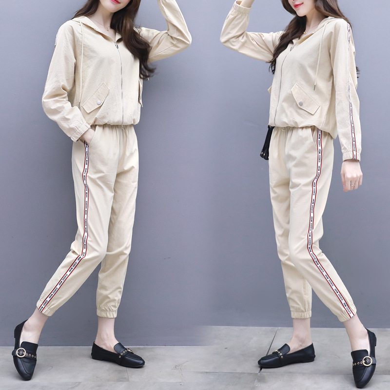 modis Casual sports suit female 2 piece set women Spring and autumn loose thin zipper Sweatshirt two-piece chandal mujer