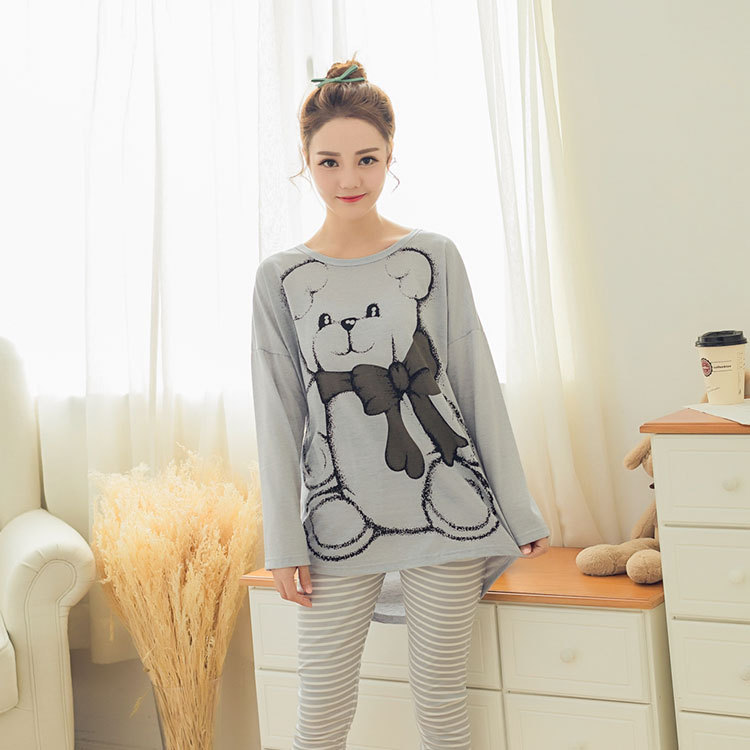 Womens Pajamas Sets 2019 Summer Round Neck Cartoon Kawaii Totoro Cartoon Sleepwear Nighty Female Casual Autumn Winter Pajamas 21