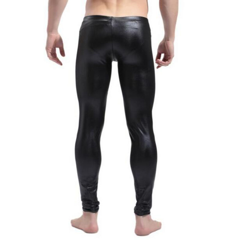 Nk-tm02 Nero Mens Del Cuoio Del Faux Della Chiusura Lampo Della Biforcazione Stretto Gambali Pantaloni Elevato Standard Di Qualità E Igiene