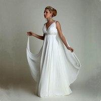 Wedding Dress 2017 Bridal Greek Style With Watteau Train V Neck Long Chiffon Beach Maternity Gowns