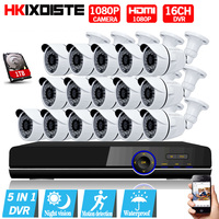16CH 1080N AHD DVR System Kit 1080P 16PCS HD 2MP Bullet Waterproof Nightvision AHD Camera 1080p