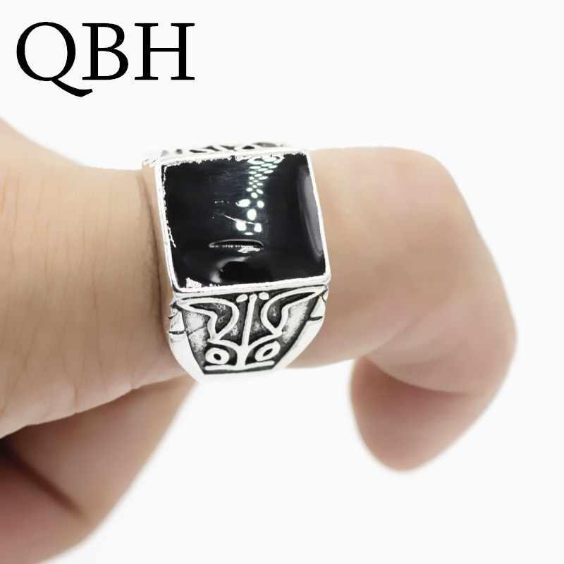 G005 自由奔放に生きる男性パンク Anillo 親指ナックルファッションヴィンテージ黒曜石黒石彫の指輪ウェディングジュエリーギフト
