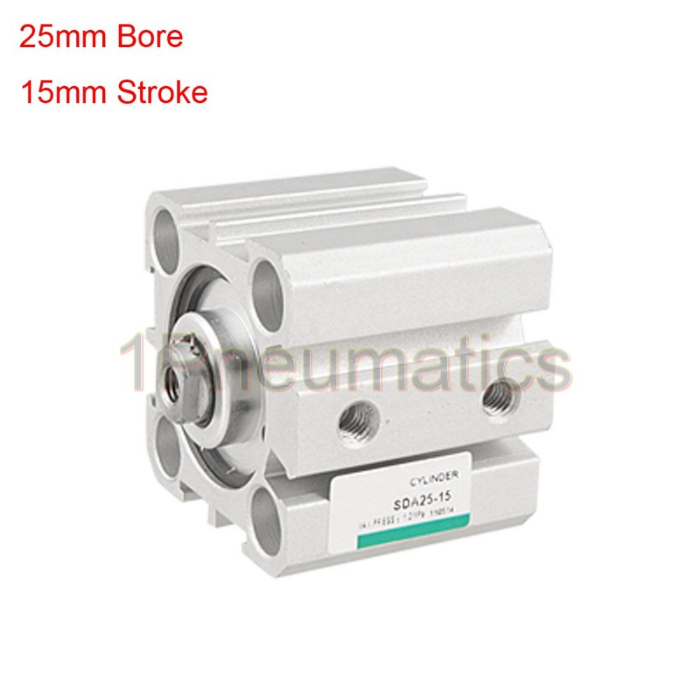 Free Shipping 2PCS/LOT Single Rod Double Action 25mm Bore 15mm Stroke Thin Air Cylinder SDA25-15 1pc cxsm series stroke dual rod cylinder double action twin rod air cylinder cxsm15 10 15 20 15 30 15 40 15 50 15 60 15 70 15 75