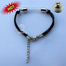 1PC Glass Vial Bracelets 6MM Curve Vial Preglued silver plated screw caps