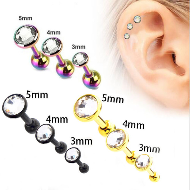 3pcs Set 3 4 5mm Clear Crystal Cartilage Stud Earrings Fashion Body Piercing