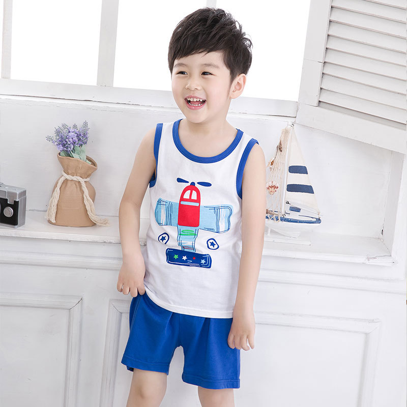 Summer Cute Cartoon 2PCS Kids Baby Boys Girls Floral T-shirt Top Shorts Pants Set Clothes Children Pajamas Girls Clothing DS9 hot sale 2016 kids boys girls summer tops baby t shirts fashion leaf print sleeveless kniting tee baby clothes children t shirt