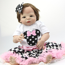 Full Silicone Vinyl Reborn Baby Doll 23 Inch Handmade Lifelike Baby Doll Girl Look Real Princess Girls Kids Birthday Xmas Gift