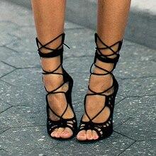 Гладиаторские вырезами носком зашнуровать открытым zapatos насосы каблуки сандалии высокие mujer