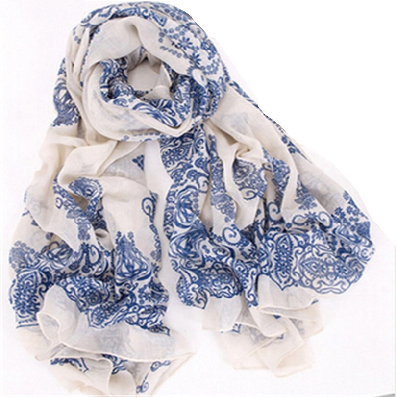 YGYEEG Printing Scarf Blue White Porcelain Style Thin Section The Silk Floss Women Scarf Shawl High Quality Factory Wholesale