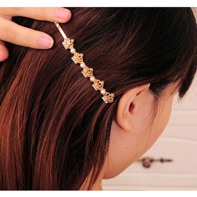 The new crown word folder clip Korean jewelry pearl hairpin Crystal side clip hair accessorie Fashion crystal Hairwear