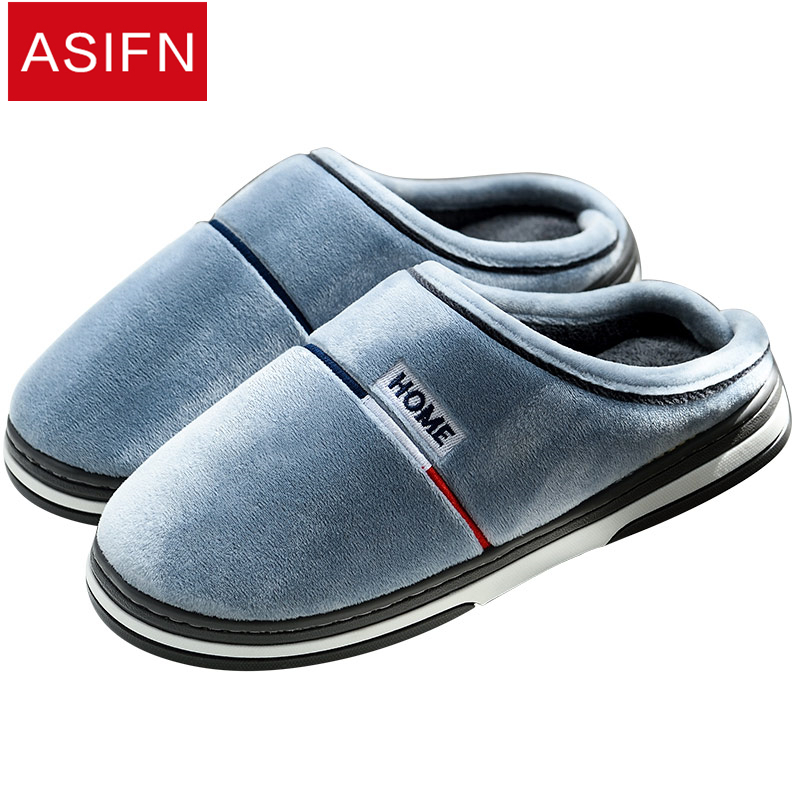 ASIFN Men Slippers Home Warm Plush Women Ladies Shoes Indoor Man Winter Fur Couple Basic Slipper Sepatu Pria Female Flip Flops