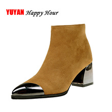 Square Heel Boots Women Winter Chelsea Boots Warm Shoes Poin