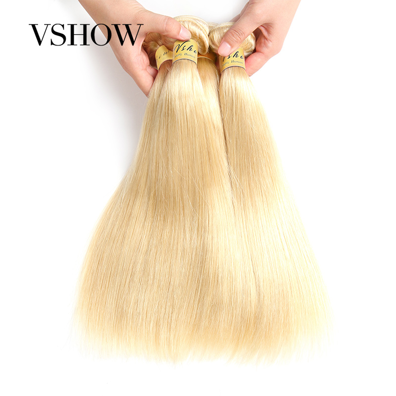 VSHOW HAIR 613 Bundles With Frontal Brazilian Hair Bundles With Closure Remy Straight Human Hair Blonde Bundles With Frontal