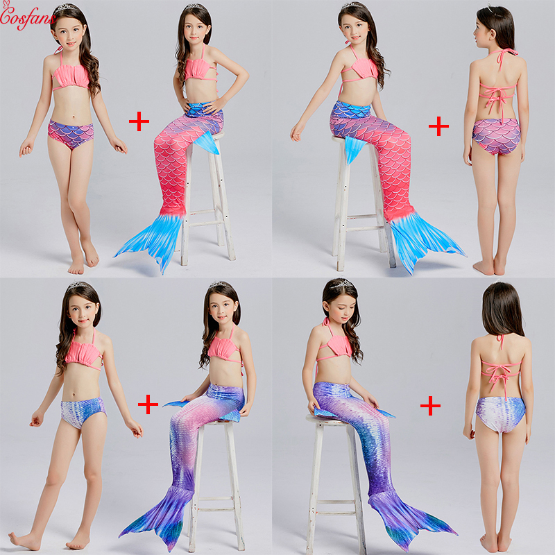 3PCS Girls kids mermaid tail Bikini set swimming no Monofin can wear swimsuit Cosplay costume children's beauty fishtail dress