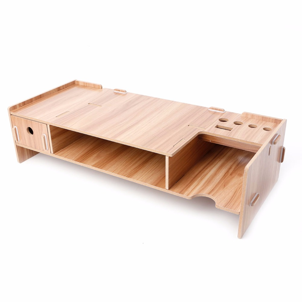 High Quality Wooden Desktop Monitor Riser TV Stand Holder Over Keyboard Desk Organizer Storage Space For Computer Laptop fitueyes wood monitor stand computer monitor riser desktop organizer tv shelves display shelf storage space 2 tiers laptop stand