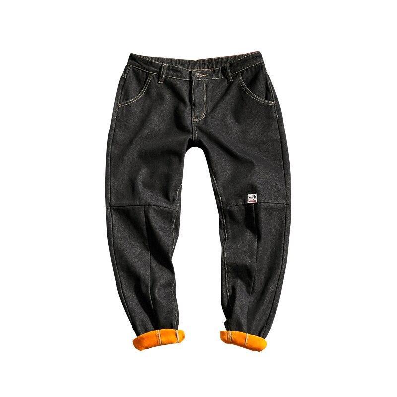 Men's clothing 2018 winter new XL loose casual straight pants plus velvet thickening waist warm men's black   jeans   M-5XL