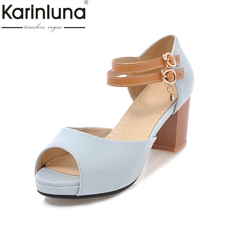 Karinluna Best Quality Peep Toe Square High Heels Platform Shoes Woman Casual Hot Sale Summer Sandals Big Size 31-43 karinluna best quality crystals brand big size 34 43 sexy high heels summer sandals shoes women party woman shoes