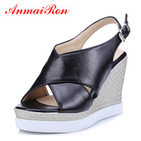 ANMAIRON Fashion 2 Colors Pumps Women High Heels Sandals Wedges Summer Simple Sandals Causal Buckle Strap