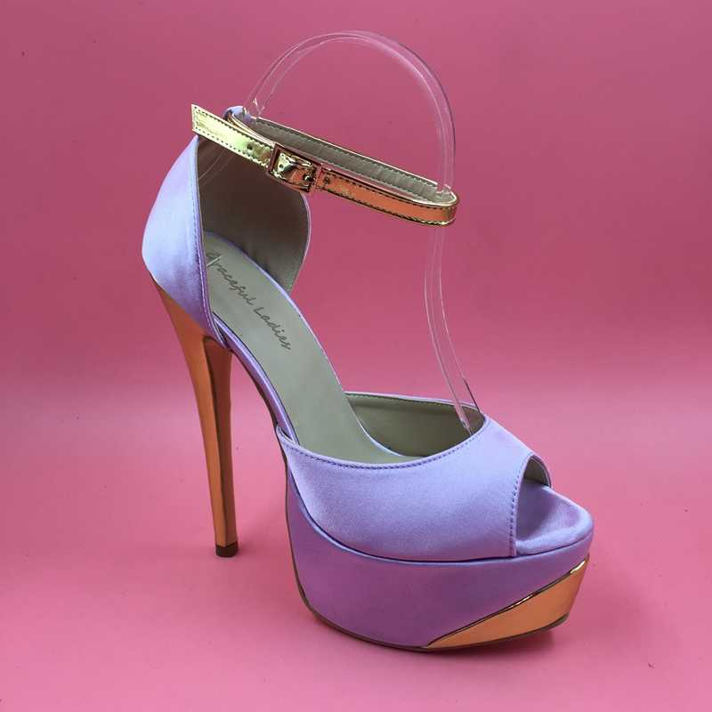 a2111206114 Lilac Satin Women Pumps Platform Heels Peep Toe Ankle Strap Size 13 High  Heels Sexy Heels Large Size Womens Shoes Runway Shoes