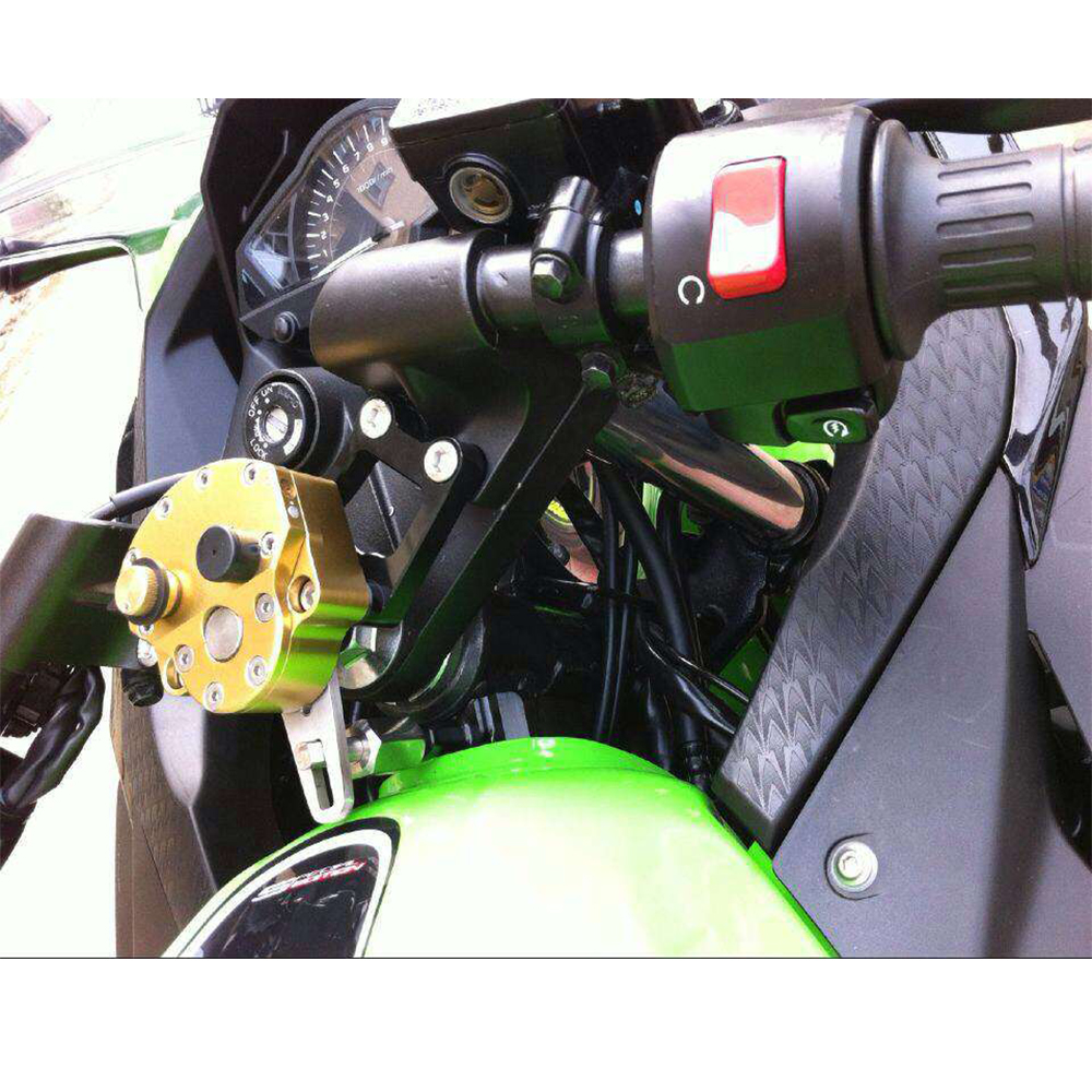 KEMiMOTO рулевой демпфер с кронштейном Комплект для Kawasaki Ninja250R Ninja250 2008 ниндзя 250 300 EX250K Ninja300 2008-2014