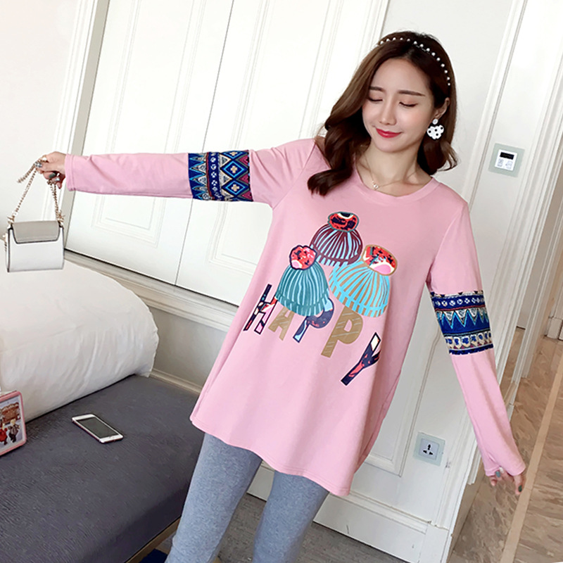 Winter Maternity Fashion Loose O Neck Long Sleeve Plus Velvet Fleece Thick Warm Printing Long T Shirt Tees Pregnant Women Shirts все цены