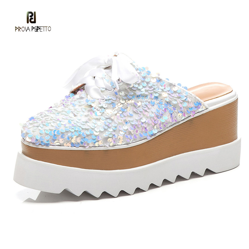 Prova Perfetto BlingBling Paillette Mules Shoes Women Fashion Wedges Lace up Casual Shoes High Platform Shoes