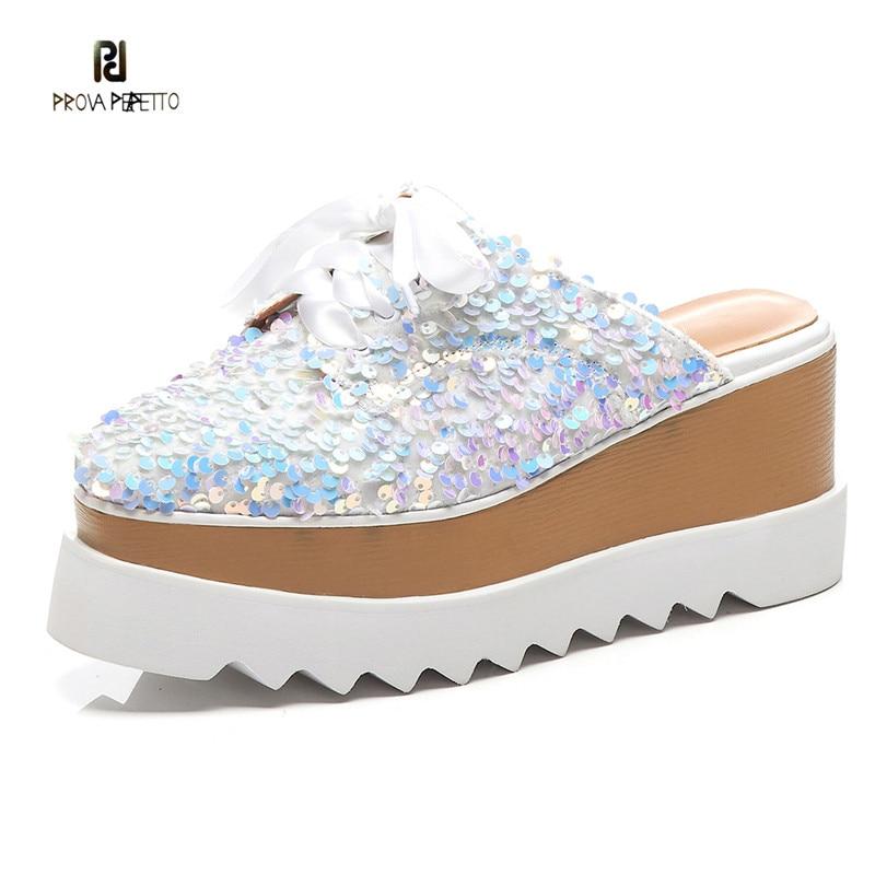 Prova perfetto blingbling paillette mules shoes 여성 패션 웨지 레이스 업 캐주얼 신발 높은 플랫폼 신발 chaussures femme-에서슬리퍼부터 신발 의  그룹 1