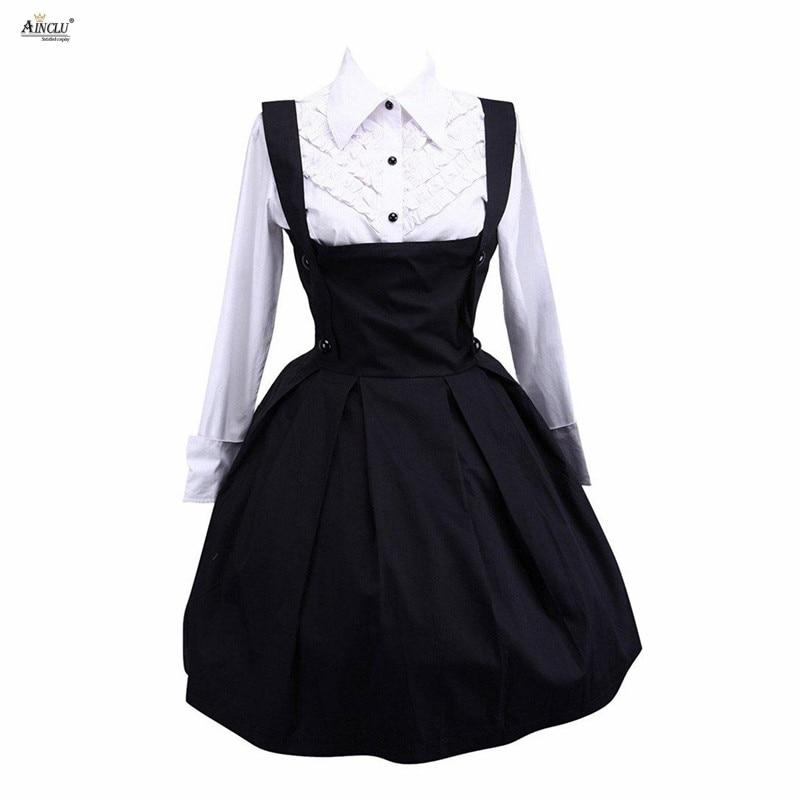 Femmes Lolita robe costume mode blanc manches longues coton manches longues Blouse et classique Lolita jupe mignon filles Lolita ensembles