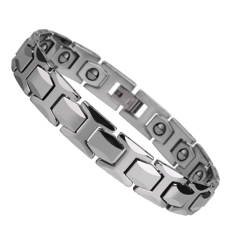 Free Shipping Hot Selling Mens Silver Tone Tungsten Carbide Bracelets Fashion Tungsten Bracelet Inlay Magnetic Stone for Health