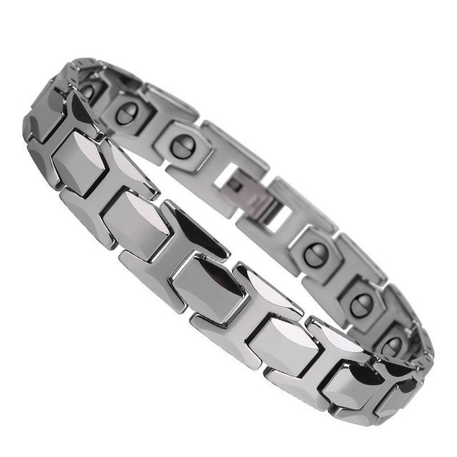 Free Shipping Hot Ing Mens Silver Tone Tungsten Carbide Bracelets Fashion Bracelet Inlay Magnetic Stone