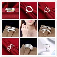 Big Promotion Wholesale Silver Jewelry 925 stamped silver plated Ring Adjustable anillos de Prata Classic Styles For Woman Gift(China)