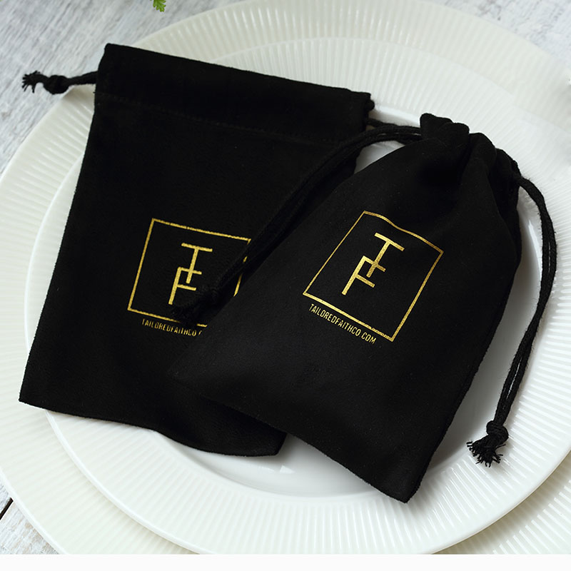 100 Black Flannel Jewellry Gift Bags Personalized Logo Jewelry Packaging Chic Drawstring Pouches For Wedding Party Decoration