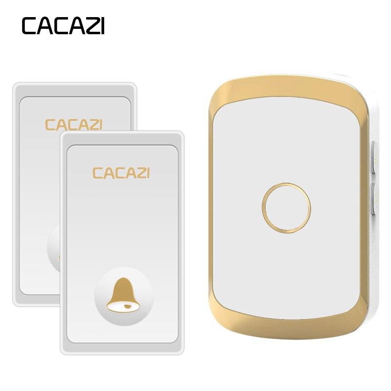 CACAZI Auto-alimenté Étanche Sans Fil Sonnette Pas de batterie Bouton LED Accueil sans fil sonnette UE Plug 36 Carillon 200 m À Distance