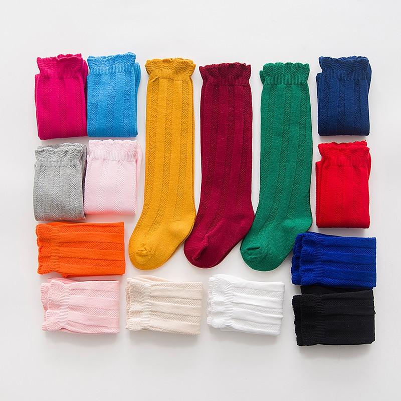 2017 New Spring Summer Baby Girls Cotton Knee High Socks Kids Toddle Double Needle Short Socks